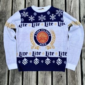 MILLER LITE HOLIDAY ugly CHRISTMAS SWEATER